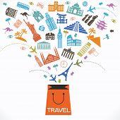 Постер, плакат: Infographics elements: Travel and Famous Landmarks Travel concept with stylish colorful icons and g