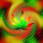 picture of reggae  - The leaf of hemp on blur spiral background - JPG