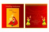 image of indian wedding  - vector illustration of Indian wedding invitation card - JPG