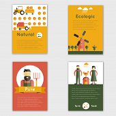 image of truck farm  - Farm fresh natural ecologic livestock animals brochure set isolated vector illustration - JPG