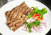 pic of liver fry  - fried beef liver with vegetables - JPG