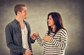 stock photo of sweethearts  - Couple of happy sweethearts in affectionate relationship - JPG