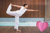picture of shiva  - Content brunette in white in the shiva posture against heart - JPG