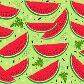 stock photo of watermelon slices  - Colorful seamless pattern or background with watermelon slices - JPG