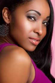 stock photo of african american woman  - Pretty black african american woman portrait closeup - JPG