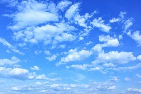 stock photo of spring-weather  - Blue sky with clouds - JPG