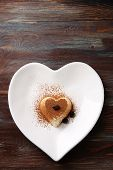 foto of dessert plate  - Tasty panna cotta dessert on plate - JPG
