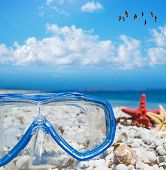 pic of sky diving  - diving mask and starfish under a flock of flamingos flying in the blue sky - JPG
