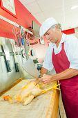 foto of turkey-cock  - Butcher preparing a chicken - JPG