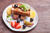image of french toast  - French toast and fresh fruit with caramel sauce - JPG