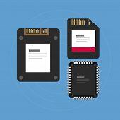 stock photo of memory stick  - flash storage sd card SSD memory illustration vector integrated cisrcuit - JPG