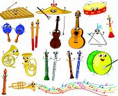 stock photo of transverse  - Cute smiling musical instruments - JPG