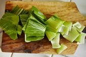 stock photo of cutting board  - bok choy cut on the cutting board - JPG