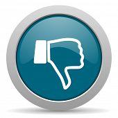 stock photo of dislike  - dislike blue glossy web icon - JPG