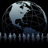 foto of person silhouette  - A globe symbol and international business people silhouettes on a black background - JPG