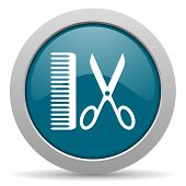 picture of barber  - barber blue glossy web icon