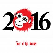 foto of monkeys  - The year of monkey Chinese symbol calendar in red on figures vector illustration - JPG