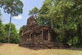 stock photo of hindu  - Hindu sanctuary situated name Tamuen stone castle under sunlight - JPG