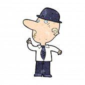 image of bowler hat  - cartoon man wearing british bowler hat - JPG