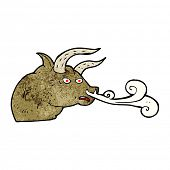 stock photo of bull head  - cartoon snorting bull head - JPG