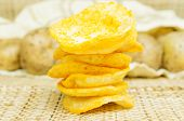 pic of potato chips  - Natural potato chips in a package and potatoes in the bag - JPG