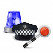 foto of flashers  - Police Control Concept with police cap - JPG