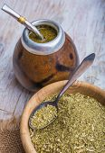 stock photo of gaucho  - Yerba mate on a white wooden table - JPG