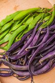 pic of bean-pod  - Young green and purple bean pods on wooden table - JPG