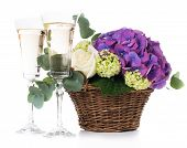 pic of purple rose  - Big bouquet of fresh flowers - JPG