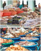 stock photo of stall  - Traditional asian fish market stall full of fresh and dried seafood - JPG