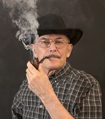 picture of hillbilly  - Cowboy in hat with Pipe  - JPG