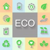 picture of environmental pollution  - vector flat design concept illustrations with icons  of ecology - JPG