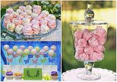 stock photo of cake pop  - Delicious sweet buffet with pink marshmallow and cake - JPG