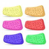 stock photo of bath sponge  - Set of Colorful Bath Sponges  Isolated on White Background - JPG