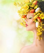 foto of mimosa  - Nature beauty with mimosa and colorful tulips - JPG