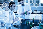 picture of science  - Science graphic against science students working together in the lab - JPG