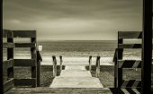 image of stairway  - Vintage shot of an stairway leading to the beach - JPG