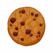 stock photo of chocolate-chip  - Chocolate chips cookie vector illustration - JPG