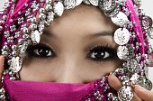 stock photo of burka  - Close up picture of a Muslim woman wearing a veil - JPG