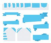 stock photo of ribbon  - Blue Origami paper ribbons for sale and advertising - JPG