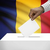 foto of chad  - Ballot box with flag on background  - JPG
