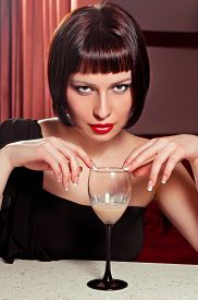 pic of table manners  - beautiful attractive girl sitting at the table - JPG