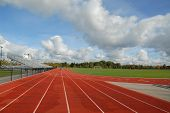 stock photo of track field  - college running track  - JPG
