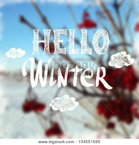 Chalk Drawn Calligraphy Hello Winter On Blurred Background Happy Theme Poster ID 104551565