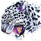 Постер, плакат: leopard growls T shirt graphics leopard illustration with splash watercolor textured background il