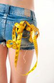 picture of tape-measure  - Model wearing blue jeans shorts holding a yellow measuring tape - JPG
