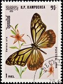 Stamp, Butterfly And Flower.