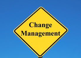 stock photo of change management  - change management posted on a yellow sign - JPG
