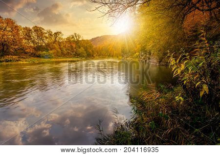 poster of Forest River In Autumn Mountains At Sunset