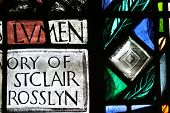 picture of rosslyn  - A close up section of a stained glass window in the famous Roslyn Chapel in Scotland - JPG